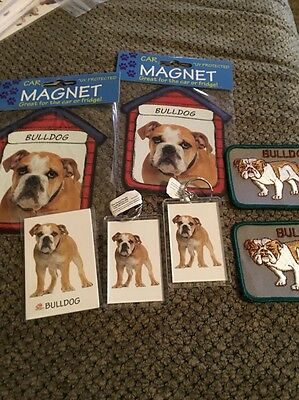 American Bulldog Dog Gift Set! New! Key chains Magnets And Vintage Patches!! L 1