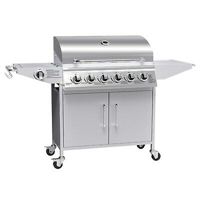 iQ 6+1 Burner BBQ Gas Grill Silver Barbecue + Side Burner Outdoor New