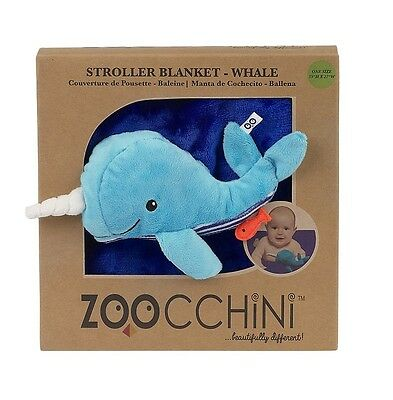 Zoocchini Buddy Blanket - Whale | Blue Blanket with Toy for Pushchairs & Prams