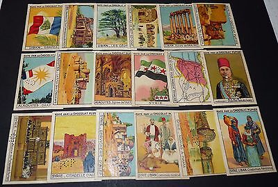 18 Chromos Chocolat Pupier Asie 1936 Levant Syrie Liban Serie Complete Punched