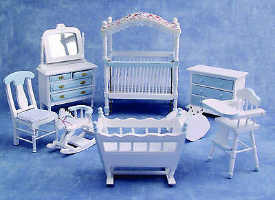 1:12th Scale 8 Piece Blue & White Nursery Set Dolls House Miniature Bed Room 899