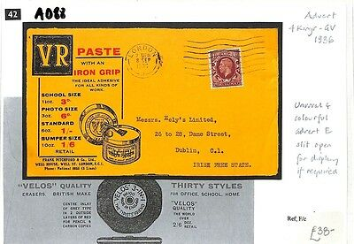 AD88 1936 GB ADVERT KGV *VR Paste* Unusual Colourful Cover Photogravure Adhesive