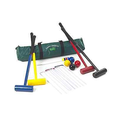 Garden Games Four Player Lawn Croquet Set with 77cm Long Mallets in a Bag - NEW