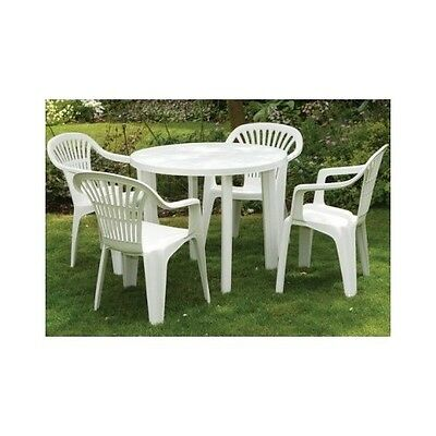 Round White Garden Patio Table ONLY Outdoor Resin Furniture Removable Legs