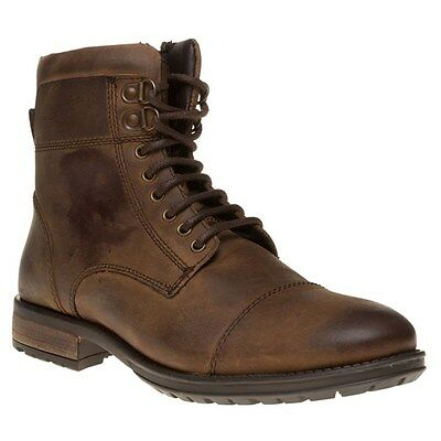 New Mens SOLE Brown Strike Leather Boots Lace Up Zip