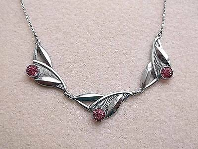 Exceptional Edwardian/Deco Pink Open Back Crystal & Chrome Necklace