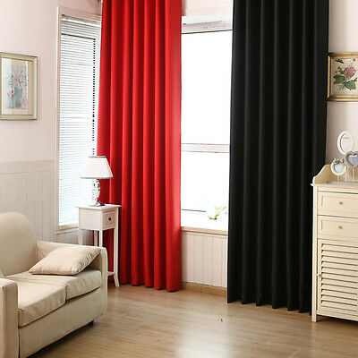 Blackout Darkening Curtains Window Panel Drapes Bedroom Door Solid Lined Curtain