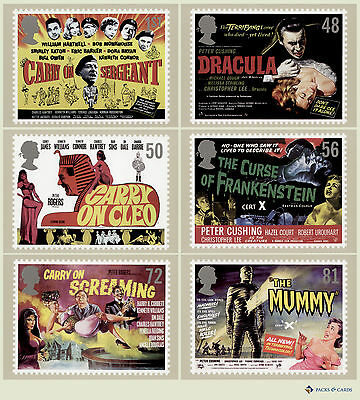 2008 Carry On & Hammer Films PHQ 312 - Mint Set of 6 Royal Mail Post Cards