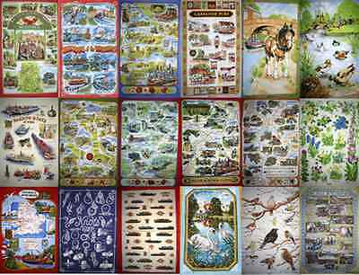 Canal  Barge Ware Teatowels - good quality teatowel 100% cotton