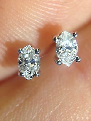 Sparkling! Unique .16CTW Natural Marquis Diamond Earring Studs 14K White Gold