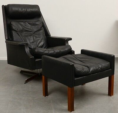 Black Leather Swivel Chair/Armchair with Stool