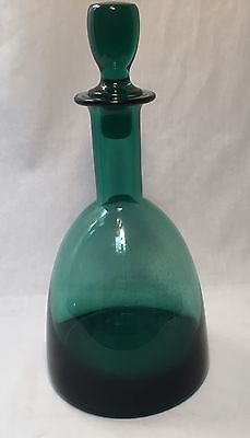 Vintage Green Decanter Wine Bottle With Matching Glass Stopper Beautiful Unique