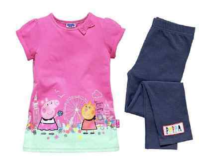 Peppa Pig:short Sleeve Pink Tunic And  Leggings,18-24M,2/3,3/4Yr,new With Tags