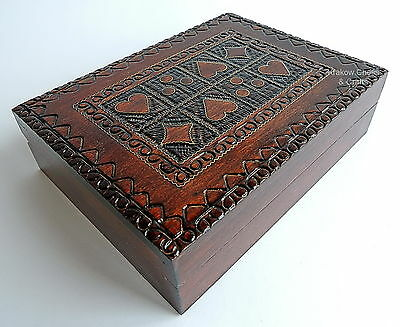 Brand New Handcrafted Brown Wooden Playing Card Box. Free Shipping