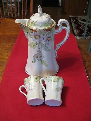 Vintage Chocolate Pot Or Coffee Server With 2 Cups - Gorgeous
