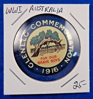Original Vintage WWI WW1 Australia Glenelg Commemoration 1916 Pin Pinback Button