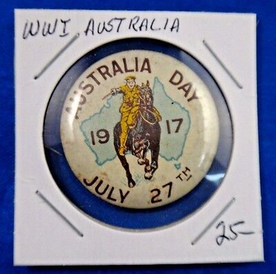 Original Vintage WWI WW1 Australia Day July 27th 1917 Pin Pinback Button