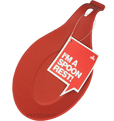 Zing Red Flexible Silicone Spoon & Utensil Rest Teabag Kitchen Tidy Holder Tray