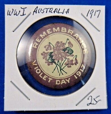 Original Vintage WWI WW1 Australia Remembrance Violet Day 1917 Pin Button