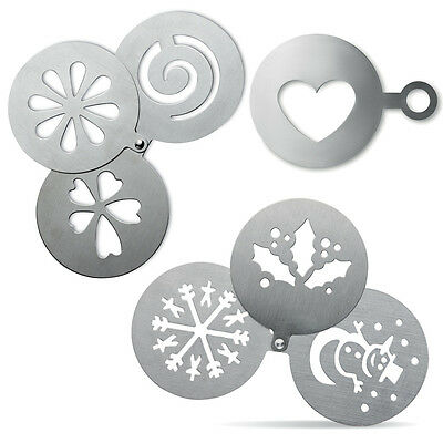 Stainless Steel Coffee Stencils Xmas Christmas Holly Snowflake Flower Duster UK