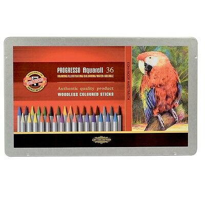 KOH-I-NOOR PROGRESSO AQUARELL WOODLESS WATER SOLUBLE PENCILS - Tin of 36 colours