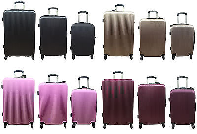 "20"" 24"" 28"" Hard Shell Cabin Suitcase 4 Wheel Luggage Spinner Lightweight"