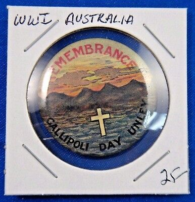 Original Vintage WWI WW1 Australia Remembrance Galipoli Day Unley Pin Button