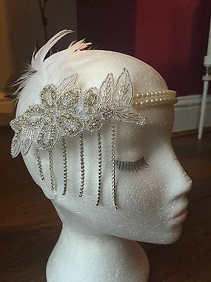 1920s Flapper Gatsby Pearl and feather Headband Art Deco Bridal Hairband