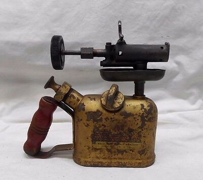 VINTAGE ANTIQUE BLOW TORCH WALL MFG. w/WOODEN HANDLE WOOD