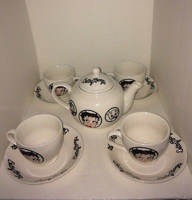 Betty Boop Tea Set Collectible 4 Tea Cups 4 Saucers Teapot Tea Kettle With Lid