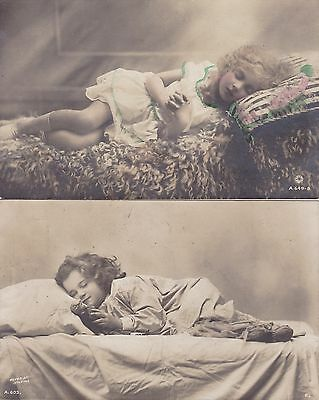 Two Antique Postcards - Sleeping Children - Doll - Curly Haired Cherubic Girls