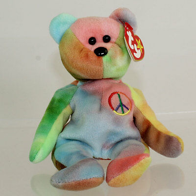TY Beanie Baby - PEACE the Ty-Dyed Bear (Blue/Pink) (8.5 inch) MWMT's