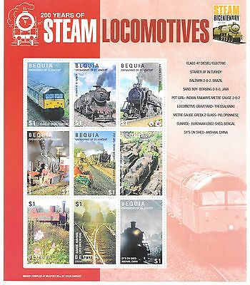 Bequia - 200th Anniversary of Steam Locomotives, 2004 - Sc 344 Sheetlet of 9 MNH