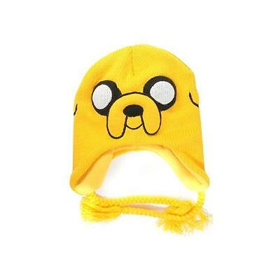 KC0803ADV ADVENTURE TIME Jake Acrylic Beanie Hat with Braided Ties, Yellow