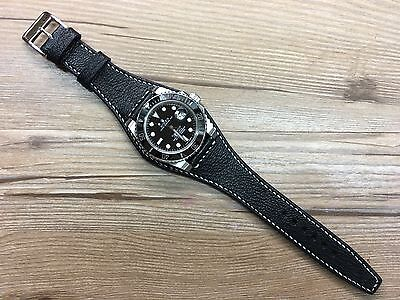 Handmade Real Leather Cuff Watch Strap, leather cuff watch band for 20mm lug