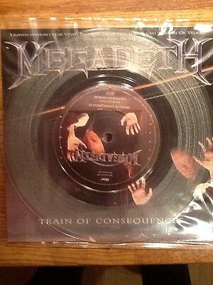 """Megadeth Train Of Consequences Ltd Etn 7"""" Clear Vinyl with free sticker."""