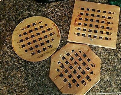 3 used Wooden kitchen protect counter heat hot pans pots