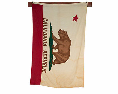 Vintage Cotton California Bear Flag Made By Valley Forge