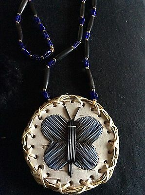 Native Beaded/porcupine Quill Medallion Necklace