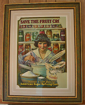 "WWI 1917 Domino Sugar ARS Poster ""Save the Fruit Crop"" Framed in Statuary Green"