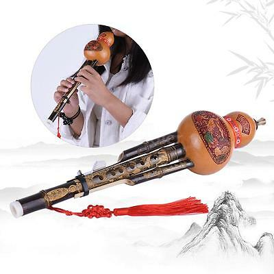 New Handmade Black Bamboo Hulusi Gourd Flute Ethnic Key of C with Case UK A5Y0