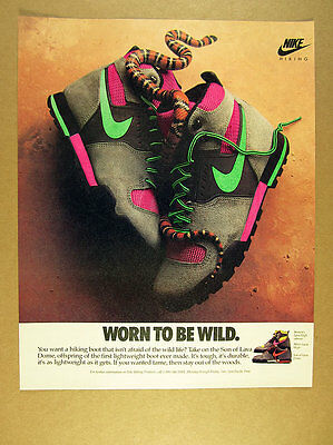 1989 Nike Lava High Son of Lava Dome Hiking Boots coral snake photo print Ad