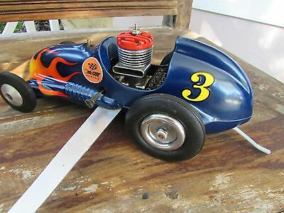 1950's Real McCoy 19 mite tether race car good compression nice paint & graphics
