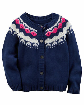 New Carter's Button Down Cardigan Fair Isle Blue NWT 2T 3T 4T 5T 6 6X 7 8 Kid