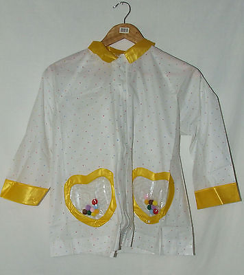 Childs Hooded Raincoat Size 7-8 years White & Yellow With Carry Bag