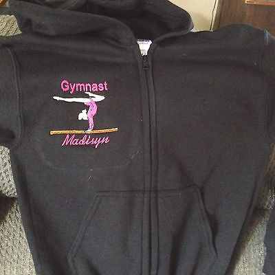 Personalized Girls Gymnastic Gymnast Dance  Sweatshirt Zip up front Hoodie Youth