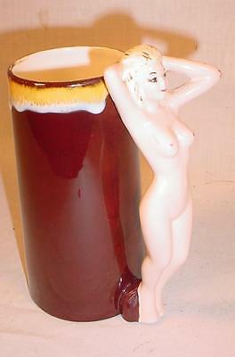 Vintage Hand Painted Risque Nude Handle 16 Ounce Beer Stein / Mug