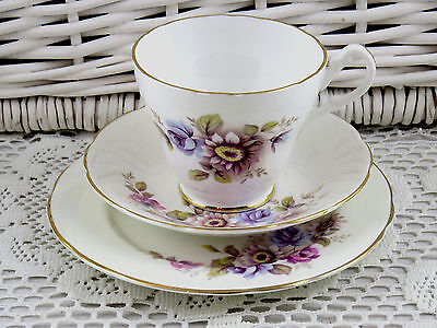 Bone China Royal Sutherland Tea Cup Saucer Plate Trio Mix Matched Lilac Flowers