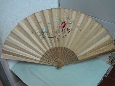 Antique big Fan wood and fabric hand painted and embroidered flowers