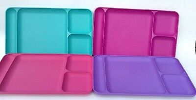 """Set of 4 Tupperware #1535 Divided Food Trays  Dining TV  15"""" x 9"""" Colorful VGUC"""
